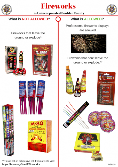 Fireworks in Unincorporated Boulder County
